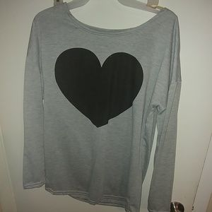 Womens long sleeve grey shirt with black heart